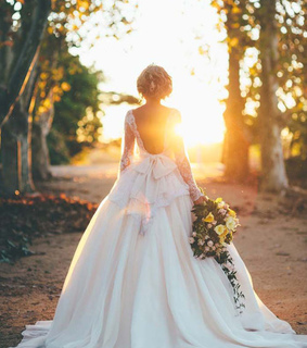 backless dress, bride and foto