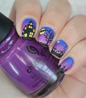 halloween, halloween nails and haunted house