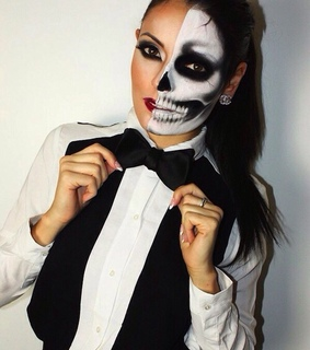 black and white, halloween makeup and happy halloween