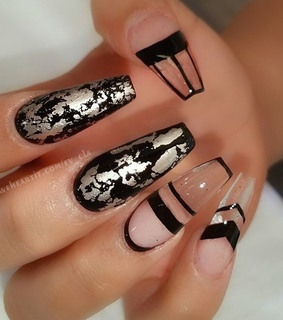 acrylic nails, black nails and fancy