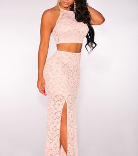 dress, halter and lace