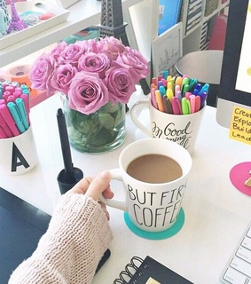 coffee, cute and home office