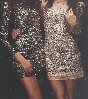 sparkly dress and bright dress