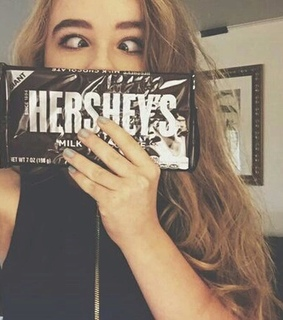 blonde hair, chocolate and funny girl