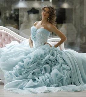 blue dress, blue gown and bride