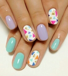 blue nails, colorful nails and nail designs