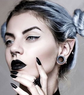 emo girl, black lipstick and nails