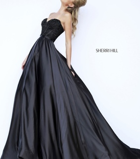 ball gown, beaded and black
