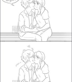 adrien, blush and french kiss