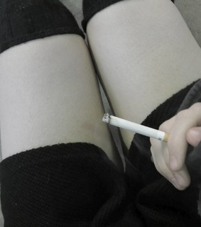 knee highs, cigarette and pale