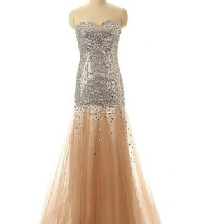 long prom dresses, champagne prom dress and tulle prom dress