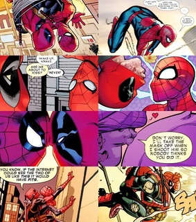 comic books, wade wilson and peter parker