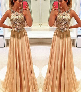 champagne prom dress, long prom dress and girl