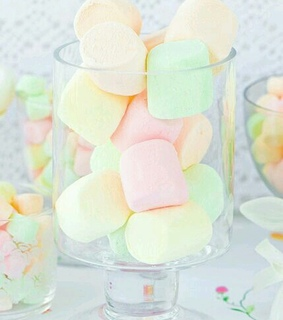 pink, yellow and marshmellows