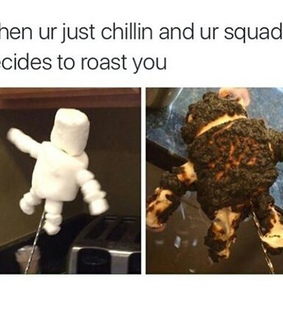funny, yum and roasting