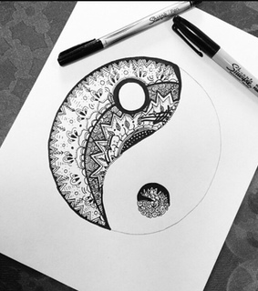 black and white, yin yang and drawings