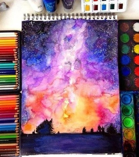 crayons, drawing and sunrise