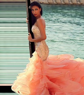 ball dress, organza dress and gorgeous orange prom dress