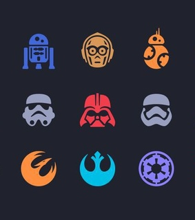 chewie, darth vader and icons