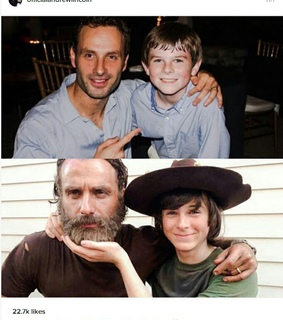 andrew lincoln, carl grimes and chandler riggs