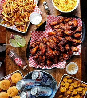 chicken nuggets, chicken wings and delicious