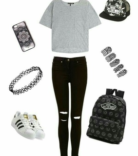 adidas, choker necklace and vans backpack