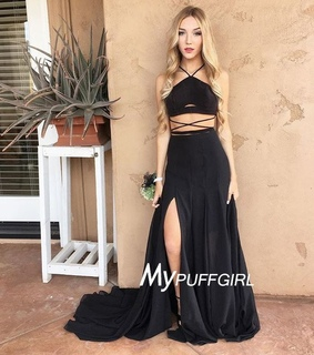 black, chiffon and formal gown