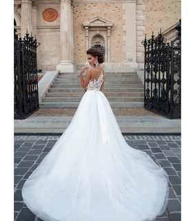 ball gown wedding dress, tulle wedding dress and lace back wedding dress 2017