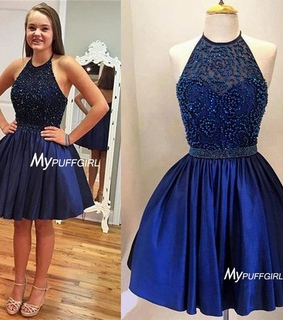 beading, blue and cocktail dress