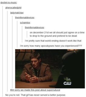 dean winchester, end of the world and funny