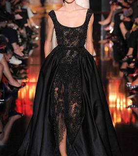 ballgown, beaded and black