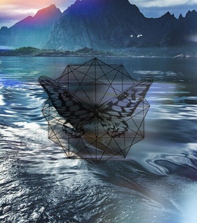 dragonfly, geometric and mountains