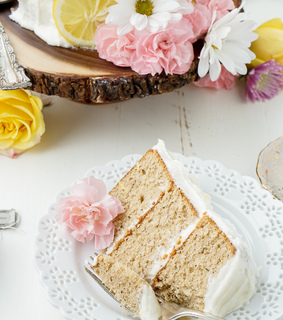 buttercream, cake and earl grey
