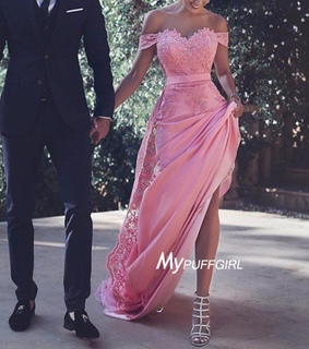 evening dress, off the shoulder and pink