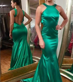 evening gown, green and halter