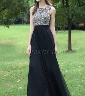 beaded dress, black dress and long dress