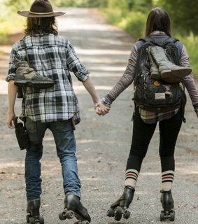 carl grimes, chandler riggs and enid