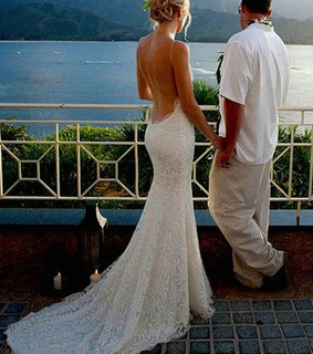 long wedding dresses, backless wedding dresses and Spaghetti straps Sexy Backless