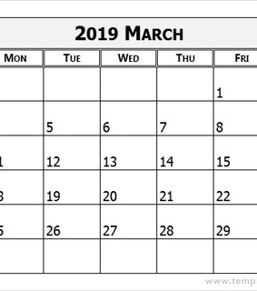 march, 2019 and March Calendar