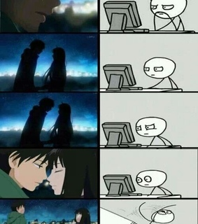 anime, couple and fall in love