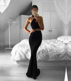 black, formal gown and halter