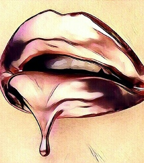 dripping, gold and lips