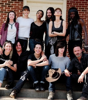 andrew lincoln, chandler riggs and christian serratos