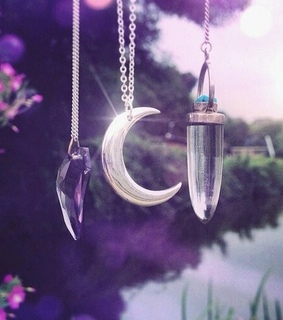 crystal, moon and moon necklace