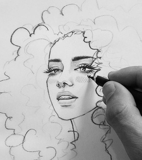 curly hair and girl drawing