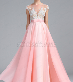 a-line, lace and pink