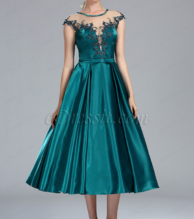 cap sleeves, lace and peacock green