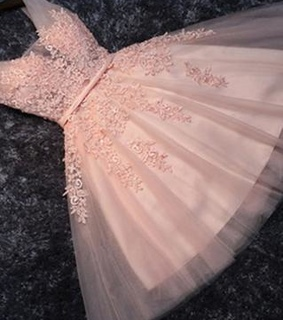 sweet 16 dress and Lace Appliqued Tulle Blush Pin