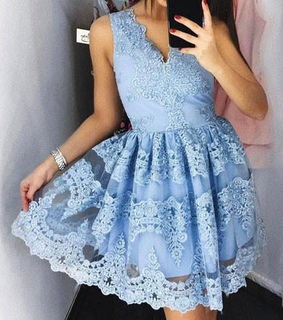 sweet 16 dress, Cute Mini V-Neck Blue Homecomi and Lace Appliqued Short Prom Dres