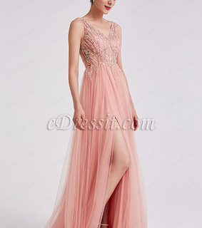 beaded dress, long dress and pink dress